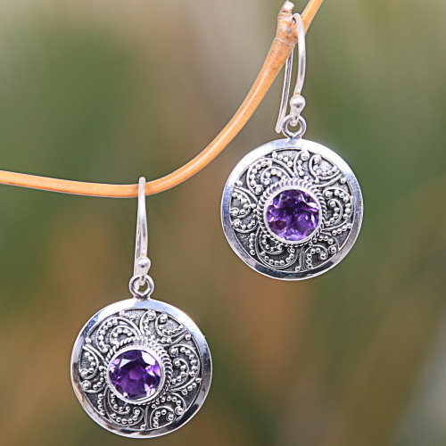 Balinese Fair Trade Amethyst Sterling Silver Earrings 'Balinese Aura'