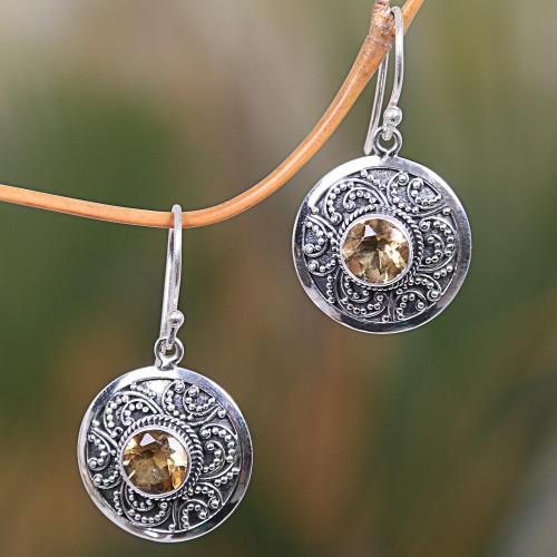 Sterling Silver Fair Trade Citrine Earrings from Bali 'Balinese Aura'