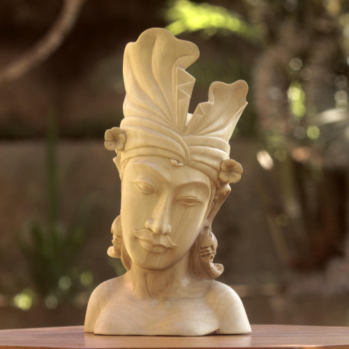 Hand Carved Wood Sculpture Bust of Man from Indonesia 'Handsome Balinese Man'