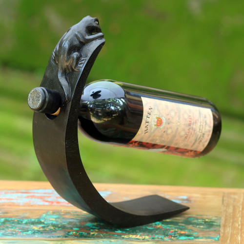 Hand Crafted Wood Bottle Holder with Lizard from Indonesia 'Black Lizard'