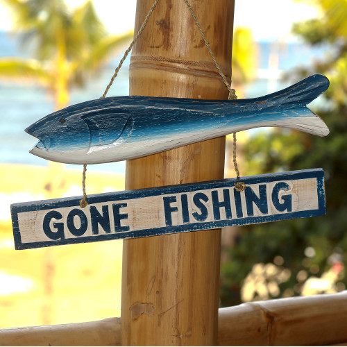 Hand Made Wood Fish Shaped Nautical Sign from Indonesia 'Gone Fishing'