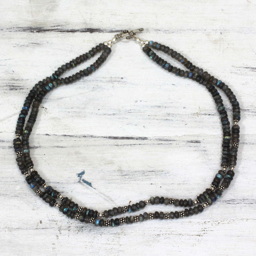 Sterling Silver Labradorite Necklace Handmade in India 'Misty Dawn'