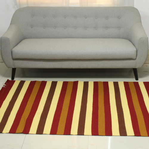 Indian Hand-Woven Wool 4x6 Area Rug in Earth Toned Stripes 'Earthy Path'