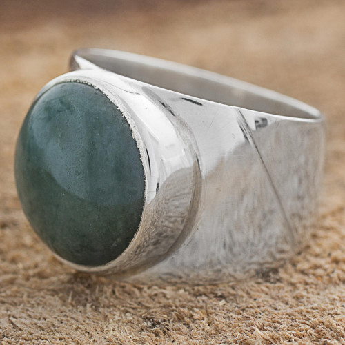 Jade and Sterling Silver Dome Ring from Guatemala 'Living Energy'