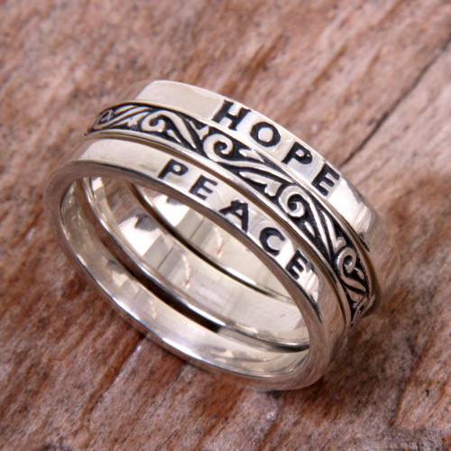 3 Sterling Silver Hope and Peace Stacking Rings Bali 'Hope for Peace'