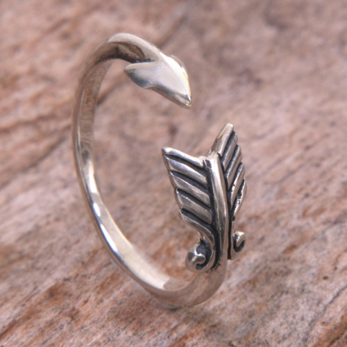 Sterling Silver Arrow Engraved Wrap Ring from Indonesia 'Silver Arrow'