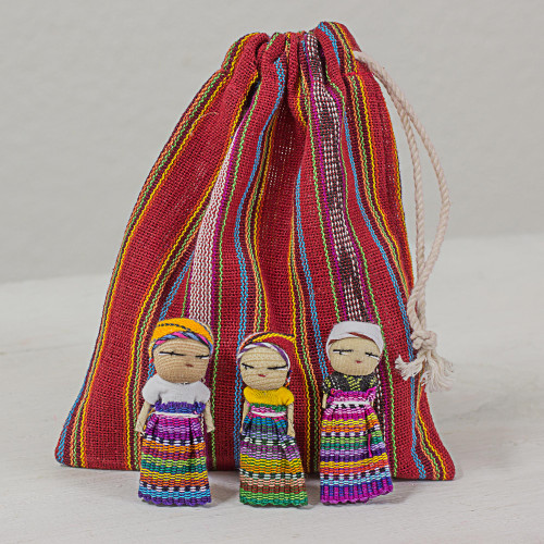 Set of 12 Guatemalan Worry Dolls with Pouch in 100 Cotton 'The Worry Doll League'