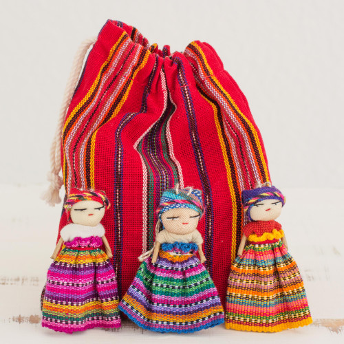 Hand Made Cotton Figurines and Bag Set of 12 Guatemala 'Worry Doll Dancers'