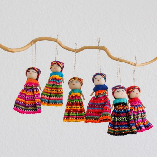 Set of 6 Guatemalan Worry Doll Ornaments Crafted by Hand 'Worry Dolls Share the Love'