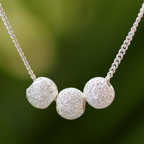 Sterling Silver Trio Pendant Necklace from Thailand 'Shining Trio'