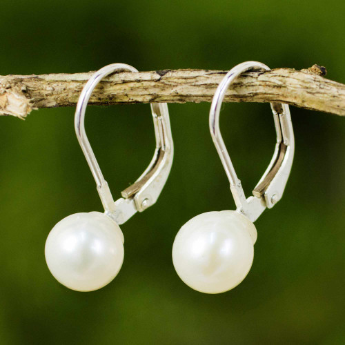 Cultured Pearl Drop Earrings High Polish from Thailand 'Pure Lily'