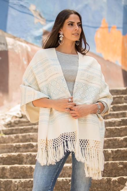 Creamy Cotton Handwoven Shawl with Light Blue Stars 'Azure Stars of Teotitlan'