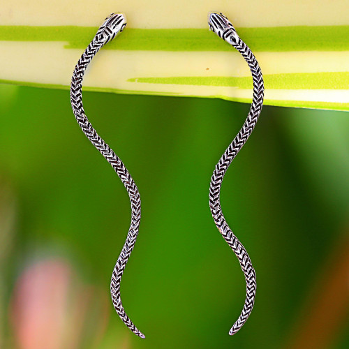 Sterling Silver Snake Drop Earrings from Thailand 'Winding Snakes'