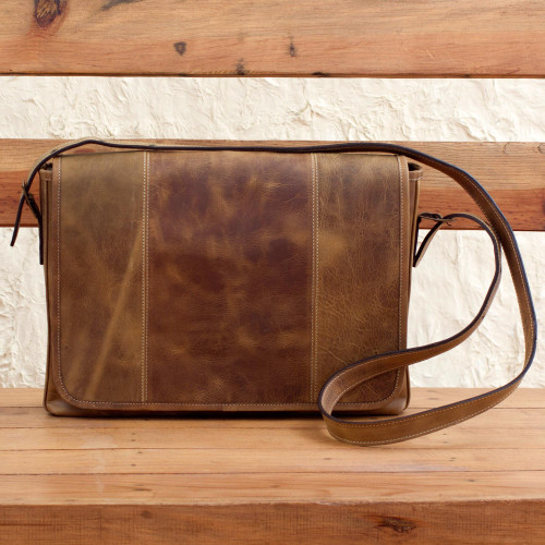 Distressed Brown Leather Boho Style Laptop Case with Pockets 'Bohemian VIP'