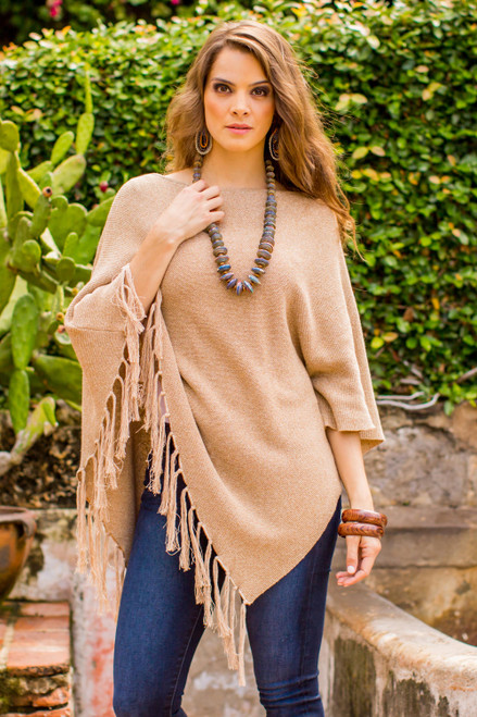 Cotton Poncho with Fringe and Tan Color from Guatemala 'Spontaneous Style in Tan'