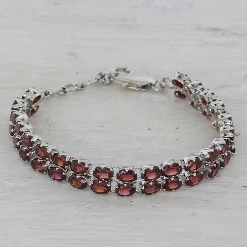 41 Garnets on 925 Silver Tennis Bracelet Jewelry from India 'Fiery Glam'