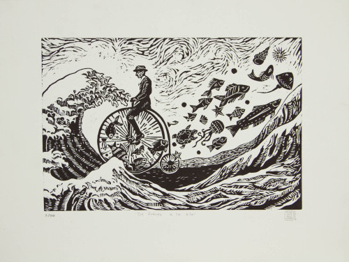 Surreal Man on Bike with Fish Etched Print Limited Edition 'Facing the Wave'