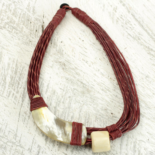 Handmade Red Leather Necklace with Horn and Bone Pendants 'Sougri Paprika'