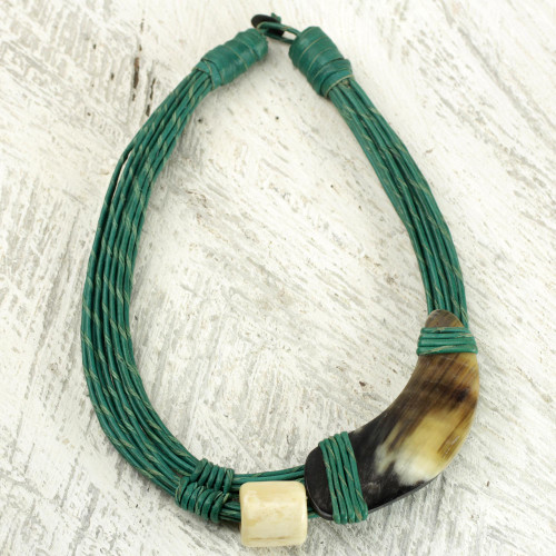 Horn and Bone Recycled Beads Necklace Fair Trade Jewelry 'Sougri Green'