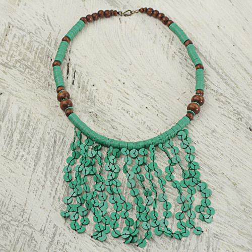 Green Recycled Plastic and Wood Artisan Crafted Necklace 'Green Taoware'