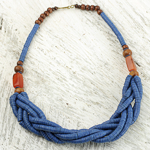 Blue Braided Beaded Necklace Fair Trade Jewelry from Africa 'Sosongo in Blue'