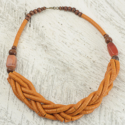 Handcrafted Orange Braided Bead Necklace with Wood and Agate 'Sosongo in Orange'