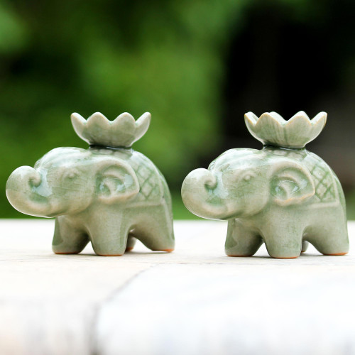 Elephant and Lotus Ceramic Incense Holders from Thailand 2 'Lotus Elephant'