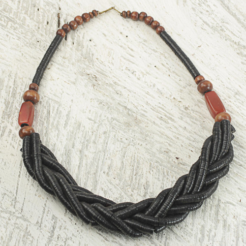 Handcrafted Black Braided Bead Necklace with Wood and Agate 'Sosongo in Black'