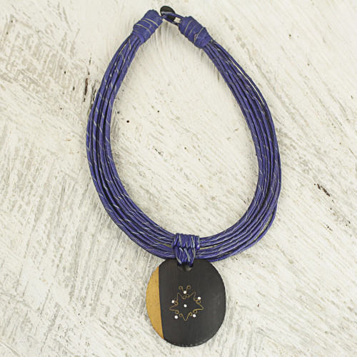 Ebony Wood Pendant Necklace with Blue Leather Cord 'Zacksongo in Blue'
