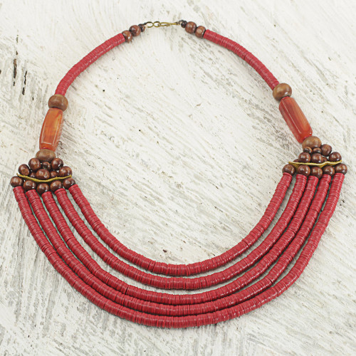 Artisan Red Bead Necklace with Sese Wood Agate and Leather 'Wend Panga in Red'