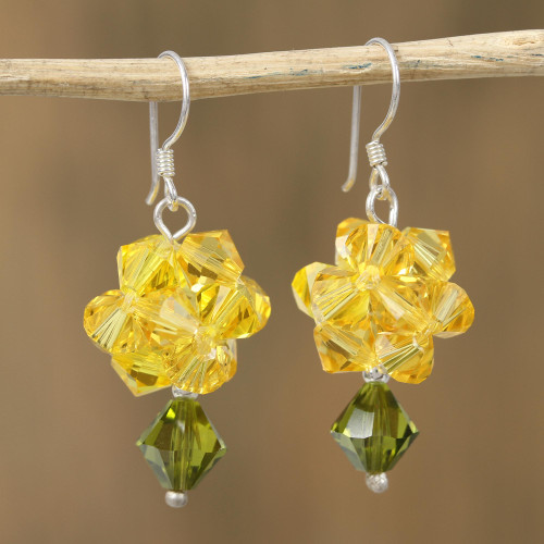 Yellow Swarovski Crystal Dangle Earrings from Mexico 'Shooting Stars in Yellow'