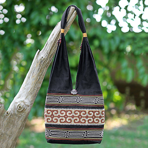 100 Cotton Shoulder Bag Black and Brick from Thailand 'Color of the Morning'