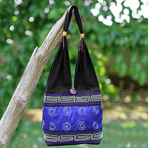 Cotton Silk Blend Shoulder Bag Indigo Black Thailand 'Summer Indigo'