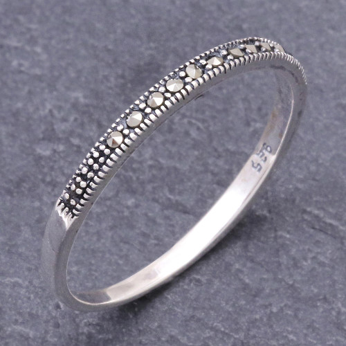 Marcasite and Sterling Silver Band Ring from Thailand 'Glistening Road'