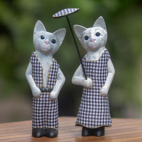 Hand Made Wood Cat Sculptures Pair from Indonesia 'Bali Cat Couple'