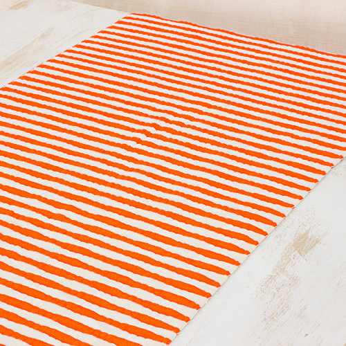 Hand Woven Cotton Table Runner Orange Stripes from Guatemala 'Guatemala Style'