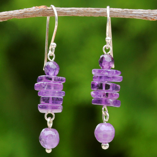 Amethyst and Sterling Silver Dangle Earrings from Thailand 'Purple Monoliths'