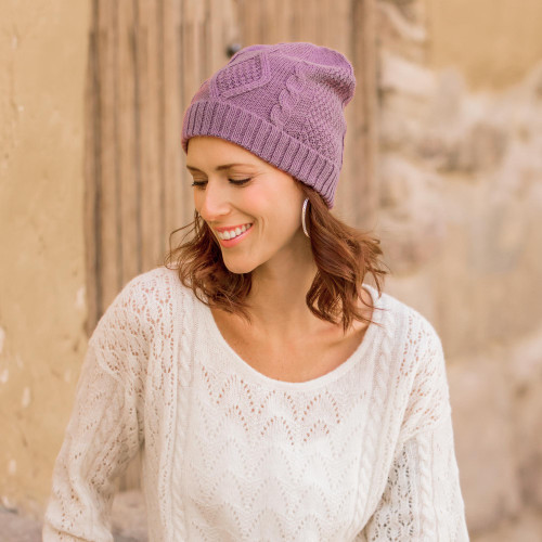 Knitted Unisex Watch Cap Dusty Lilac 100 Alpaca from Peru 'Antique Lilac Allure'