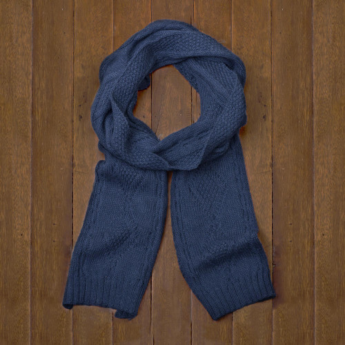 Knitted Unisex Scarf in Azure 100 Alpaca from Peru 'Antique Cable Knit'
