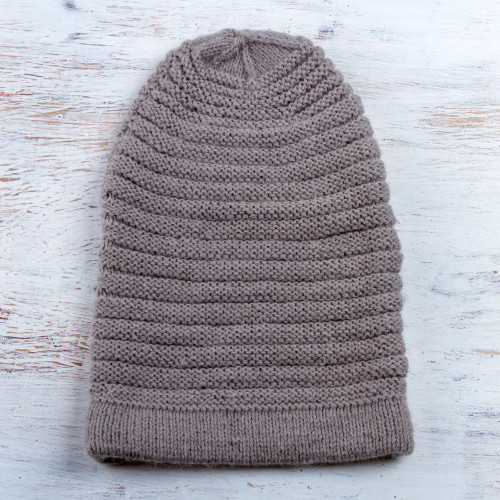 Hand Knit Dove Grey Alpaca Blend Unisex Hat from Peru 'Dove Grey Charm'