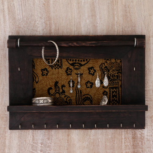 Hand Crafted Jewelry Display Wall Panel in Wood and Cotton 'Tegalalang Heritage in Brown'