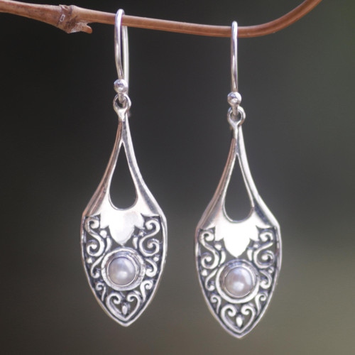 Sterling Silver Cultured Pearl Dangle Earrings Indonesia 'Catch the Moon'