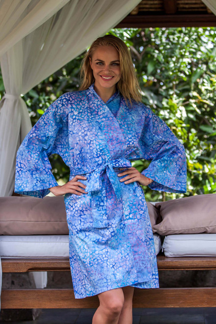 Short Cotton Batik Robe of Vibrant Blue and Rosy Hues 'Pebbles in a River'