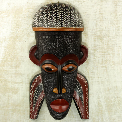 Hand Carved African Sese Wood Mask Inspired by a Festival 'Three Pathways'