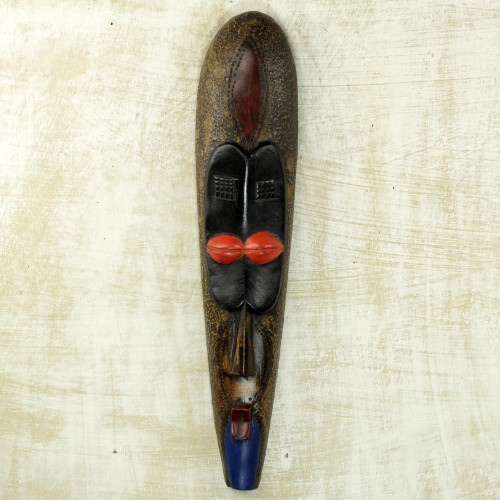 Stunningly Painted Hand Carved African Sese Wood Mask 'Little Woman'