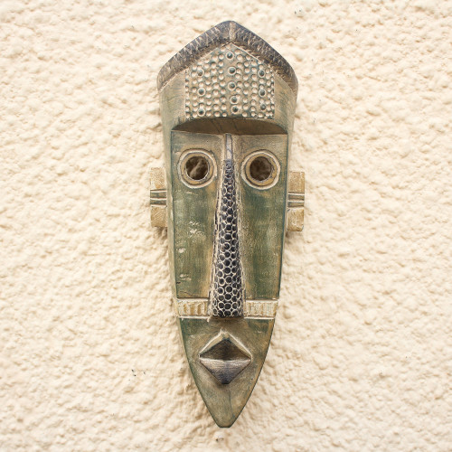 Original Green West African Hand-Carved Sese Wood Wall Mask 'Green Giant'