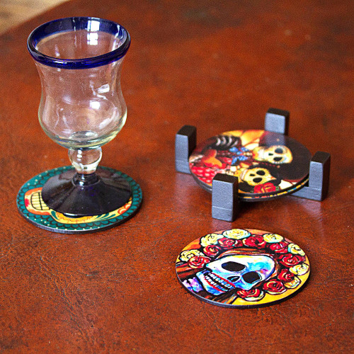 Day of the Dead Theme on Mexican Decoupage Set of 4 Coasters 'Festive Catrina'