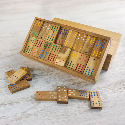 Colorful Rain Tree Wood Domino Set Game from Thailand 'Colorful Dominoes'