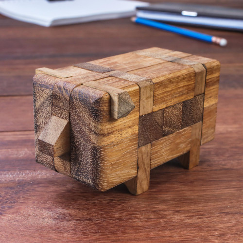 Rain Tree Wood Pig Puzzle from Thailand 'Piggy Puzzle'