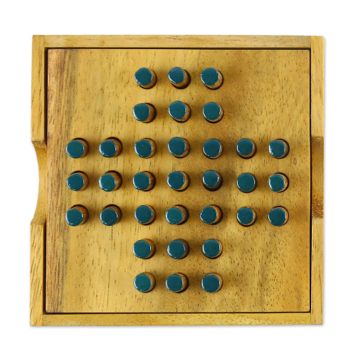 Hand Made Wood Peg Game Teal from Thailand 'Elimination'